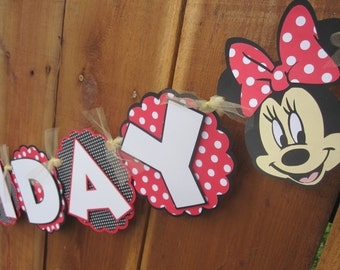 Red Disney Mickey and Minnie Mouse Birthday Banner