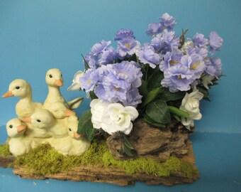 baby duck bird figurine, flower centerriece     porcelain home interior