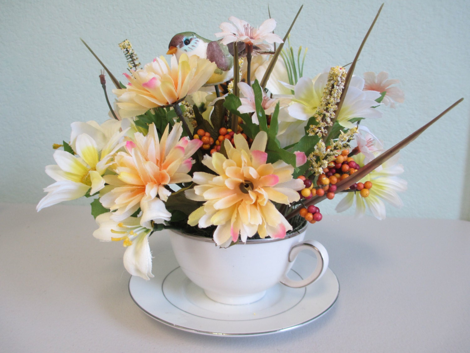 Tea cup spring and summer silkflower arrangement ooak