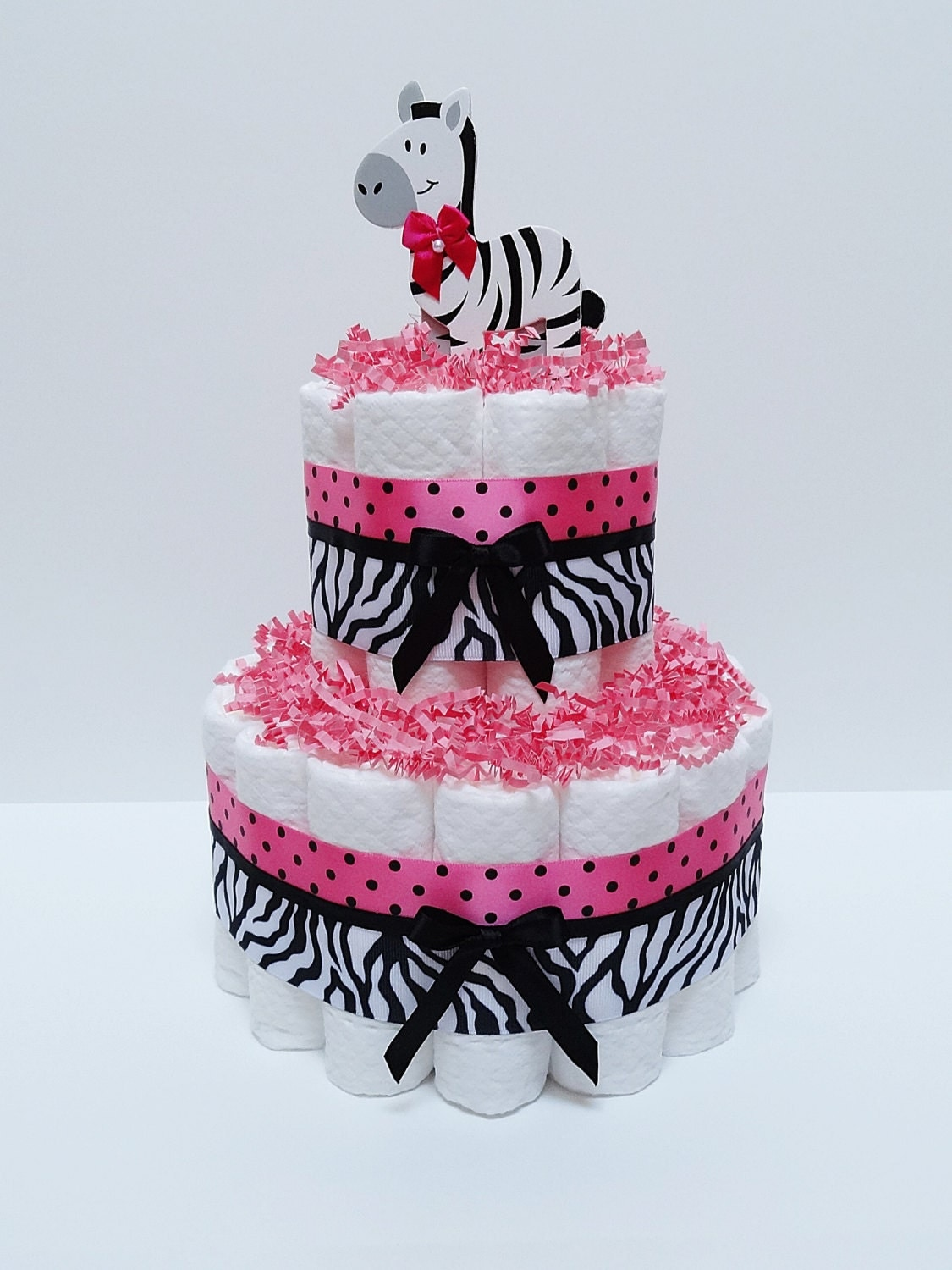 hot pink safari diaper cake baby shower by lanasdiapercakeshop