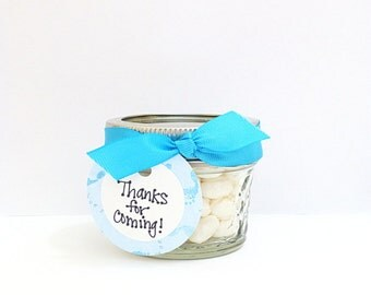 Baby Shower Favor, It's A Boy Mason Jar, Candy Jar, Thank You Gift, Blue and White, Turquoise Baby Shower, Set of 4