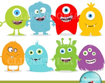 Cute Little Monster Digital Clipart For Personal and Commercial use / INSTANT DOWNLOAD