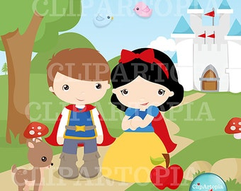 Fairytale Princess Digital Clipart Cute Princess for Card Design, Scrapbooking, Personal and Commercial Use / INSTANT DOWNLOAD