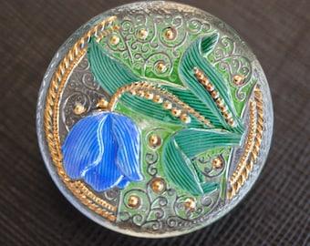 Hand Made Art Czech Glass Buttons TULIP 33mm  Size: 14, 1 pc (BUT203/14)