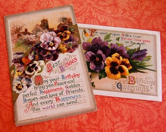 2 Vintage Winsch Post Cards, Birthday Pansies Violets