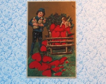 Vintage Valentine Post Card Boy & Cupid Collecting Hearts