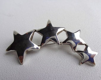 Sterling Silver Curved Star Brooch