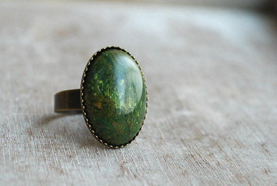 """Forest green """"""""  Adjustable Ring green, marbled, emerald"""