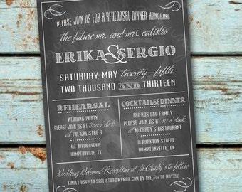5x7 Chalkboard Style Wedding Rehearsal Invitation: Printable and Customizable