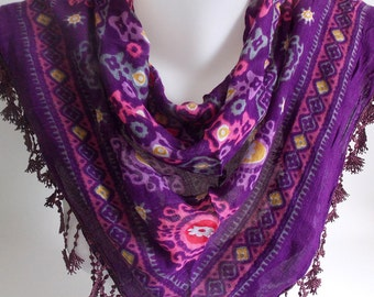 SAHRASCARF/Purple Cotton Triangle Scarf Shawl Lace Cowl Scarf WomenScarf Soft Shawl Cowl Scarf