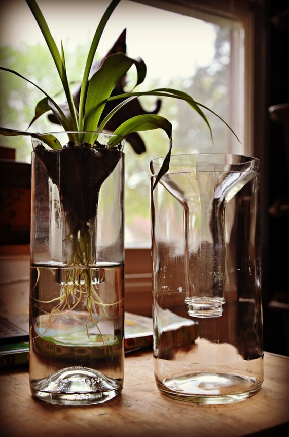Items similar to planter made out of recycled glass for Glasses made out of bottles