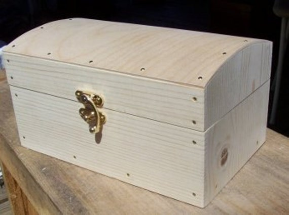Unfinished Wood Treasure Chest ~ Caribbean treasure chest unfinished w latch
