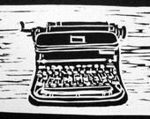 Typewriter original woodblock print