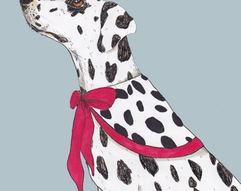 Dalmatian in a cape, funny, quirky