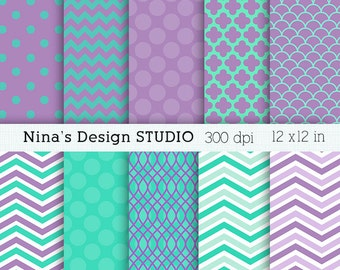 50% SALE INSTANT DOWNLOAD Aqua purple digital paper pack Personal and Commercial Use