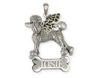 Solid Personalized Sterling Silver Poodle Charm Jewelry  PD56-ANP
