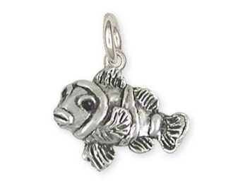 Solid Clownfish Charm Jewelry Sterling Silver CLF2-C