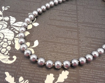 One Strand, Classic Style 8mm Pewter Glass Pearl Necklace