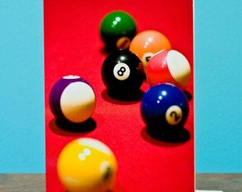 "Pool table photograph greeting card 5"" x 7"" (12.7cm x 17.8cm)"