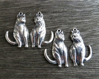 Sterling Silver Cat Charms (lot of 4 pieces) 27mm x 17mm (.925) -Destash