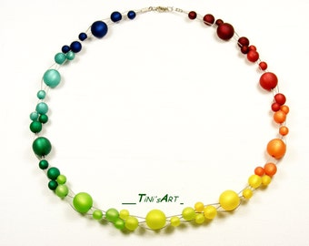 Rainbow chain from Polaris beads with lobster clasp