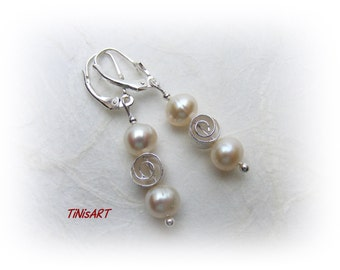 Filigree earrings with cultured pearls, and spiral in 925 sterling silver