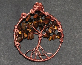 Tiger's eye tree of life pendant - 55mm