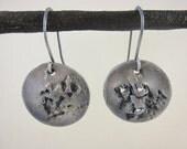 Recycled, Oxidized Fine Silver Terrain Earrings