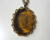 SALE!!!!! Vintage Cameo Necklace Carved Amber Crystal Extra Long Chain Very Unique