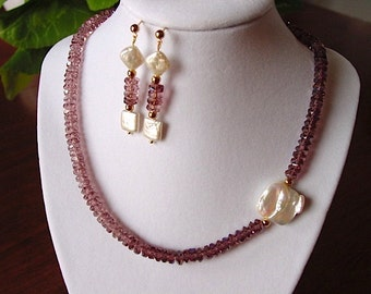Rhodolite Czech Cut Glass and Large Square Baroque Pearl Necklace and Earring Set