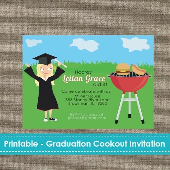 Graduation Cookout Party Invitation Diy Printable