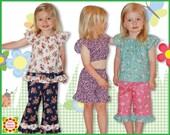Girls Pants Capri Shorts Pattern + Free Mother-Daughter Apron Pattern,Emily SEWING PATTERNS for Children, pdf, toddler, baby