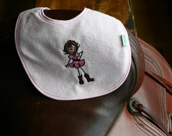 Pastel Pink Western Embroidered Baby Cowgirl Bib - Waterproof and PVC free