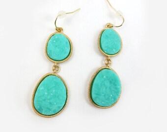 Geode Agate Druzy Stone Drop Earrings in Aqua and Silver