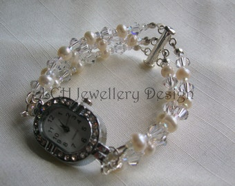 Bridal Watch - Handmade with Swarovski Crystal & Freshwater Pearl