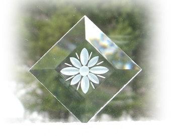 "Four Stone Wheel Engraved  2"" x 2"" Glass Bevels,  Stained Glass Supplies, Stained Glass, Beveled Glass,   SUP-BEV102"