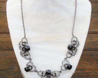 Rhinestone Necklace, Black and Clear Rhinestone Necklace, Bridal Necklace, Vintage Style Jewelry, Bib Necklace