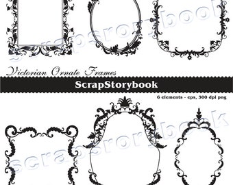 Victorian Ornate Frames Black - vector images, digital files (EPS, PNG) - Personal and Commercial Use