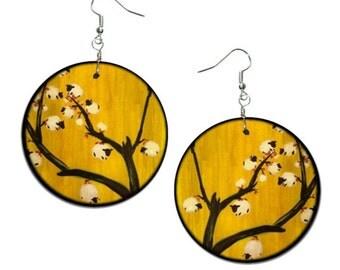 Flowering shrubs cotton - handmade earrings - decoupage, Flowers Earrings, Hypoallergenic Earrings