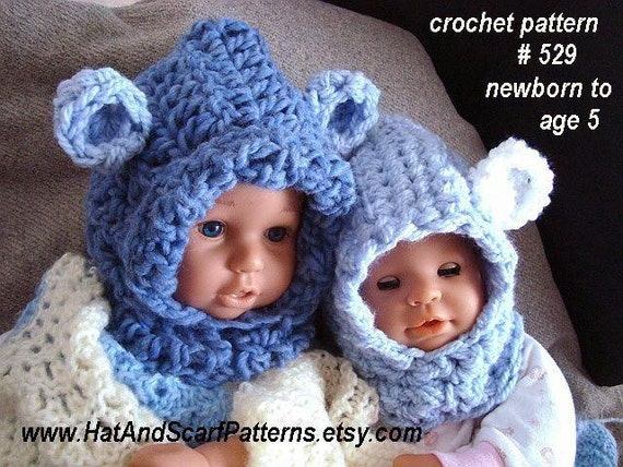 hat pattern CROCHET PATTERN Baby Bear Hood by ...