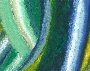 Abstract blue and green painting (1 of 3)