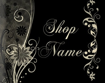 Etsy Banner - 7 pieces, flowers, black background