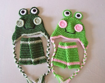 Baby Frog Laplander Hat & Leg Warmers Set - 0 to 3 Months, 3 to 6 Months, 6 to 12 Months - Green, Pink - Animal, Ribbit