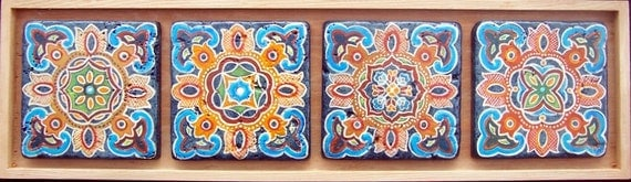 Moroccan hand painted tile mural original by for Bloody bay wall mural