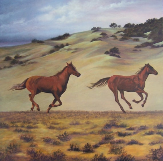 Horses Running Wild and Free fine art giclee reproduction