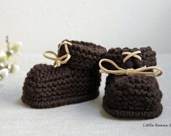 Hand Knitted Handmade Organic Cotton Baby Booties with Suede Laces Sizes 0-3 3-6 6-12 M