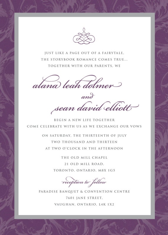 Printable Wedding Invitation - Purple Grey Flourish Wedding Invitation with RSVP, Elegant, Sophisticated, DIY, Printable, RSVP, Swirls
