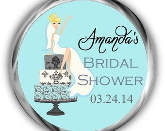 Bride on Cake Bridal Shower Hershey Kisses Stickers - Personalized Bridal Shower Kiss Favors