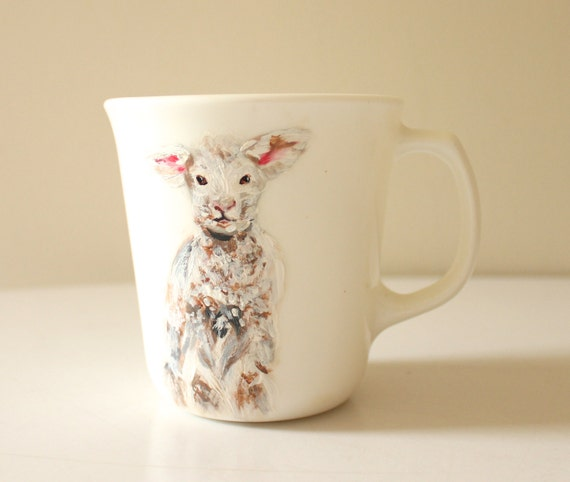 Handpainted Teacup - Coffee Mug - White Lamb - Farm Animal - Home Decor - Country Kitchen - Serving - Housewares - Tableware - Original Art