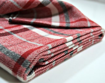 Wool Fabric - Squares - Red Black and White
